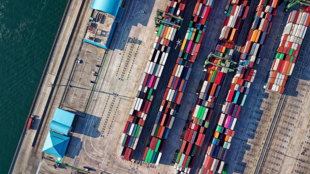 Aerial view photography of containers